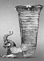 Ритон с протомой оленя, 2-ая половина 4 века до. н э.Серебро