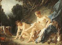 """Картина Ф. Буше """"Купание Дианы"""". 1742 год. Лувр"""