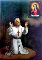 Преподобный Серафим Саровский, молящийся на камне, нач. 20 в